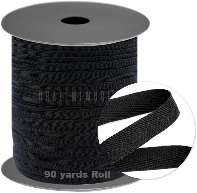 CRAFTMEMORE Twill Tape 90 Yards Fabric Ribbons Webbing Herringbone Twill Bias Binding Tape for Clothes Sewing Craft Trim Lace (3/8 Inch, Black)