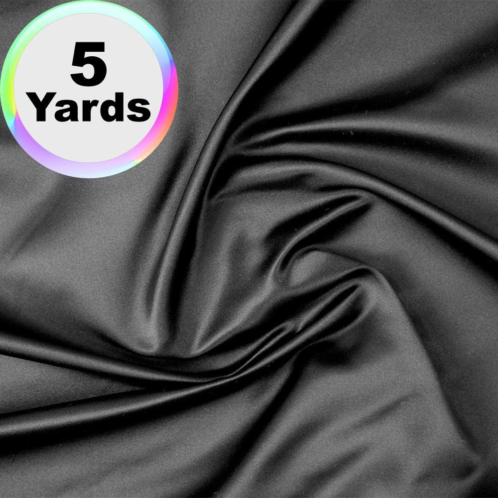 Charmeuse Satin Fabric | 5 Yards Continuous | 60 Wide | Silky, Bridal | Decoration, Fashion Crafts (Black, 5 Yd)