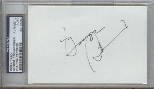 George Steinbrenner Autographed Yankees Index Card – PSADNA Slab - MLB Cut Signatures