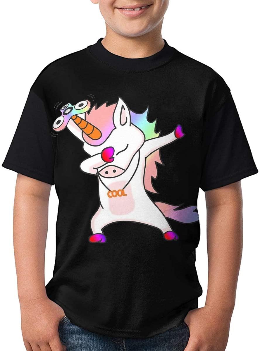 Kids Dab Horse Dabbing Dance O-Neck T-Shirts for Boys Girls Black Small