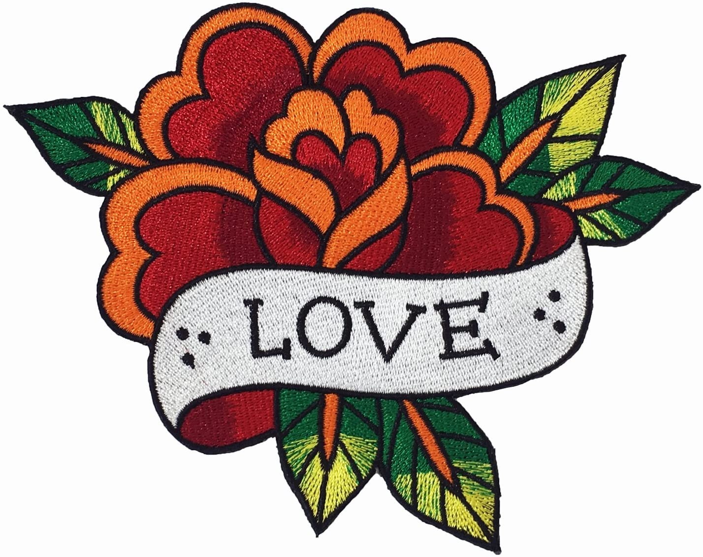 Tattoo Rose Love Art Flower Sew On Embroidered Patch