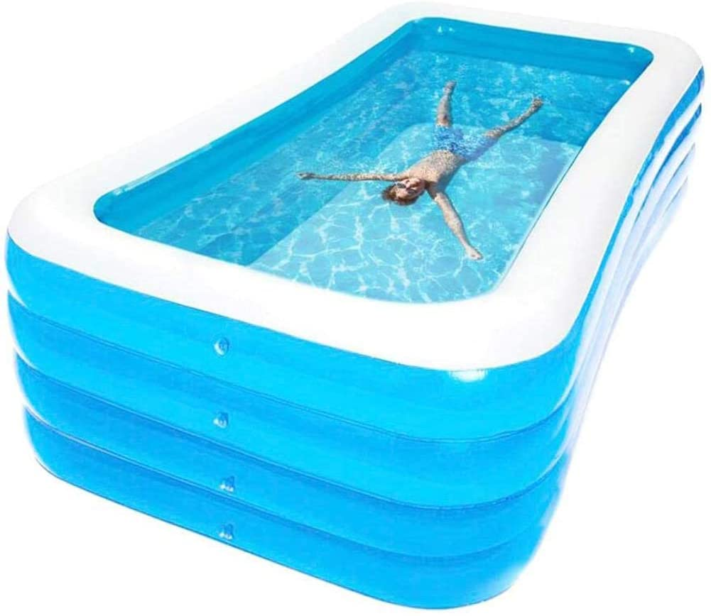 BUTTERFLYSILK Large Garden Outdoor Rectangular Inflatable Swimming Pool, Paddling Swimming Pool Rectangular Pool for Children, Ideal for All Kids and Adults