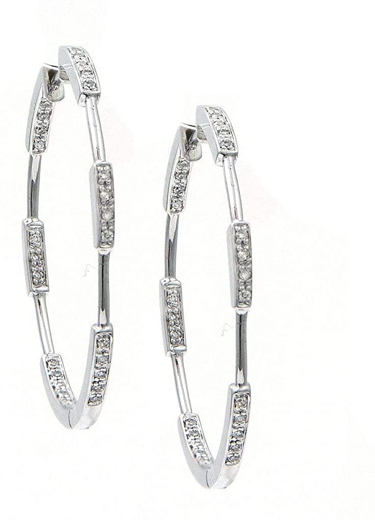 14k White Gold Hoop Single Cut Micro Pave Set 0.20 dwt Diamond Earrings