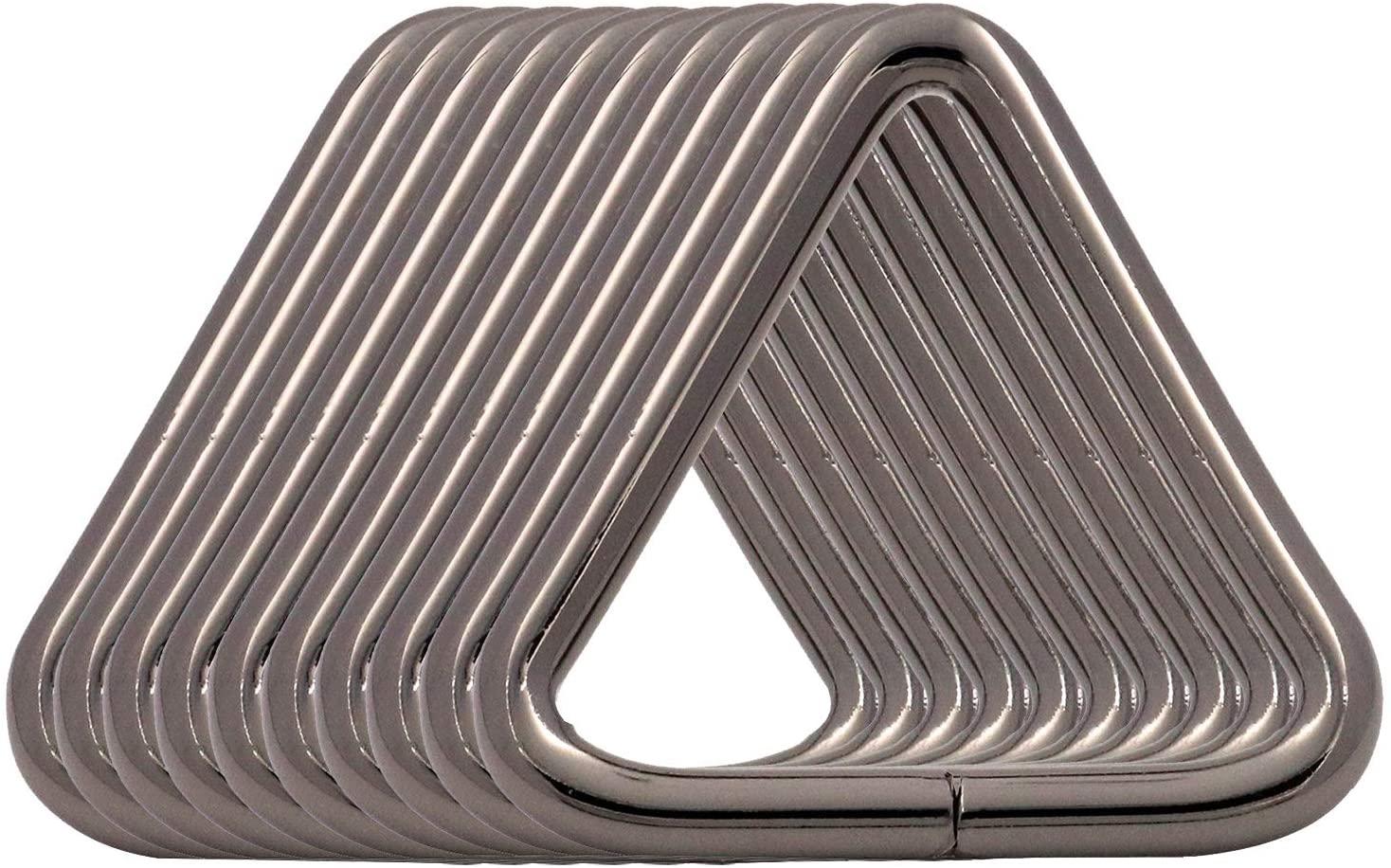 BIKICOCO 1-1/4 Metal Triangle Ring Buckle Connectors Non Welded Round Edge Webbing Bag Clasp Handbag Strap Making Hardware, Gunmetal - Pack of 10