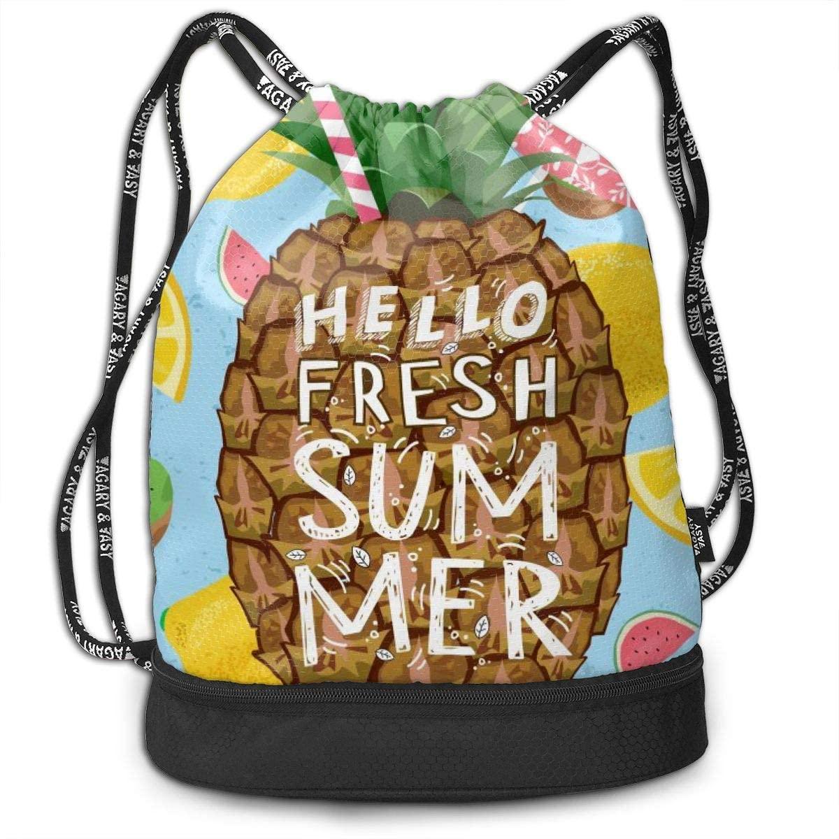 Bundle Backpacks Hello Fresh Summer Gym Sack Drawstring Bags Casual Daypack Yoga Bag School Training Pouch