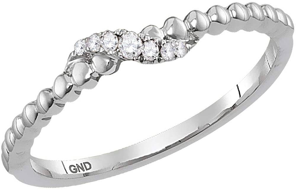10kt White Gold Womens Round Diamond Crossover Stackable Band Ring 1/20 Cttw