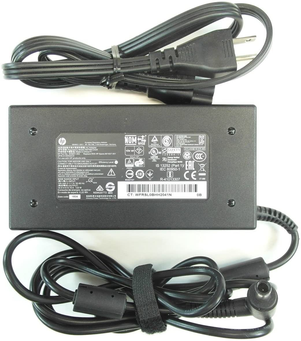 New Genuine HP Envy Pavilion 19.5V 6.15A 120W Smart Pin AC Adapter 801637-001