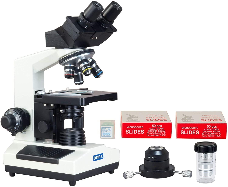 OMAX 40X-2000X Compound Binocular Microscope w Oil Darkfield Condenser+Blank Slides+Cover Slips