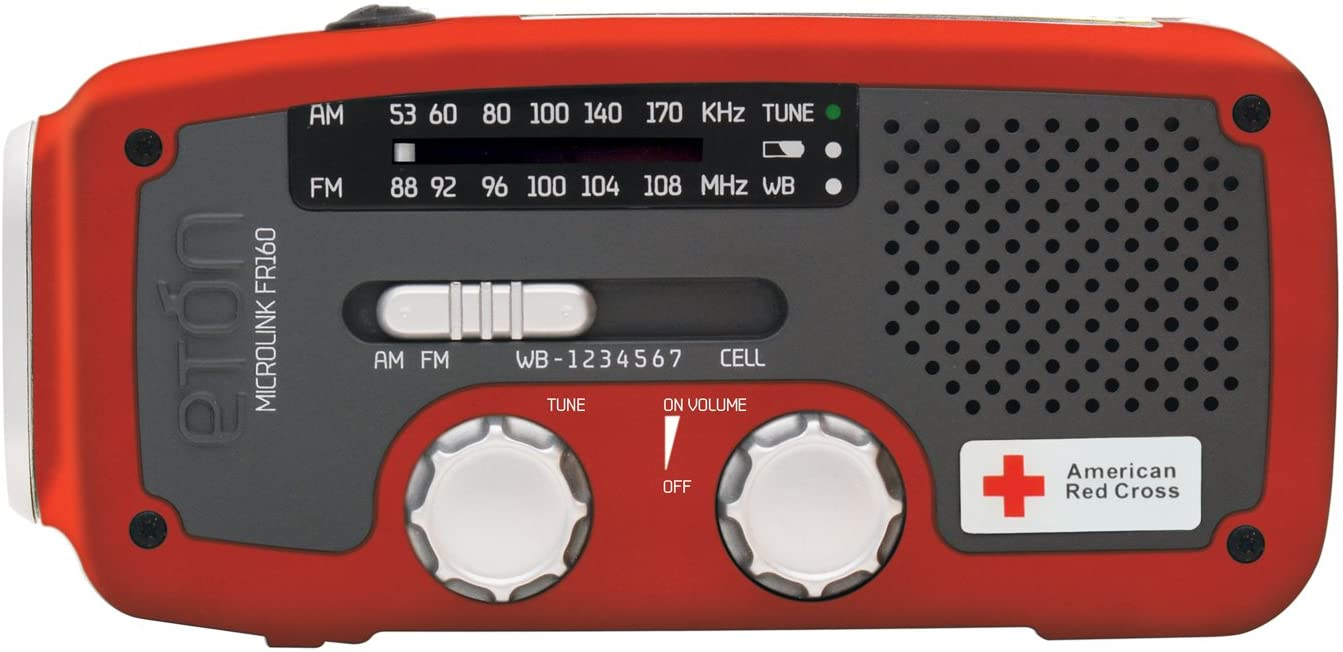 Etón American Red Cross FR160 Microlink Self-Powered AM/FM/NOAA Weather Radio with Flashlight, Solar Power and Cell Phone Charger (Red), ARCFR160WXR