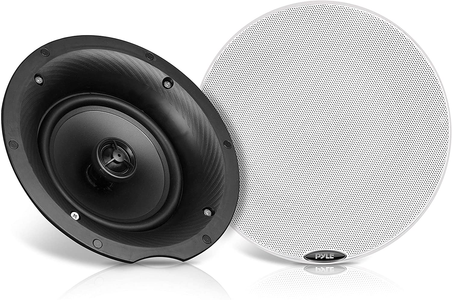 "Pyle 5.25"" Pair Bluetooth Universal Flush Mount In-wall In-ceiling 2-Way Speaker System Dual Polypropylene Cone & Polymer Tweeter Stereo Sound 240 Watts (PDICBT57),Black"