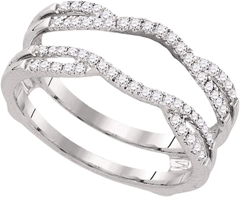 Dazzlingrock Collection 0.33 Carat (ctw) Round Diamond Wrap Ring Guard Enhancer Wedding Band 1/3 CT, 14K White Gold, Size