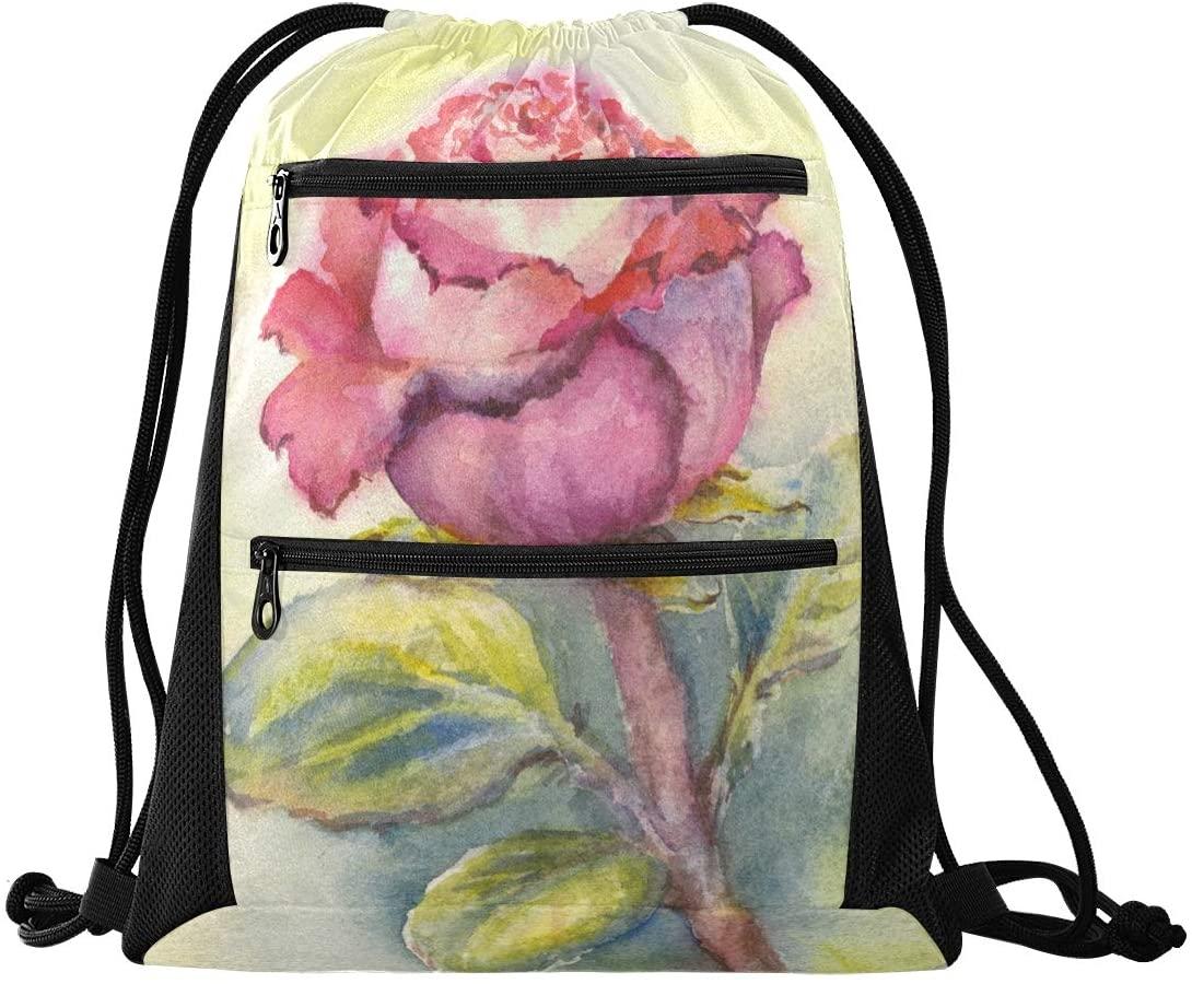 N /A Drawstring Backpack Bag Watercolor Rose Floral Flowers Pattern Gym Bag, Draw String Bags, Cinch Sack