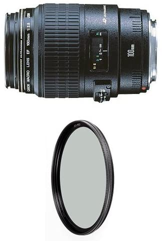 Canon EF 100mm f/2.8 Macro USM Fixed Lens for Canon SLR Cameras w/ B+W 58mm XS-Pro HTC Kaesemann Circular Polarizer
