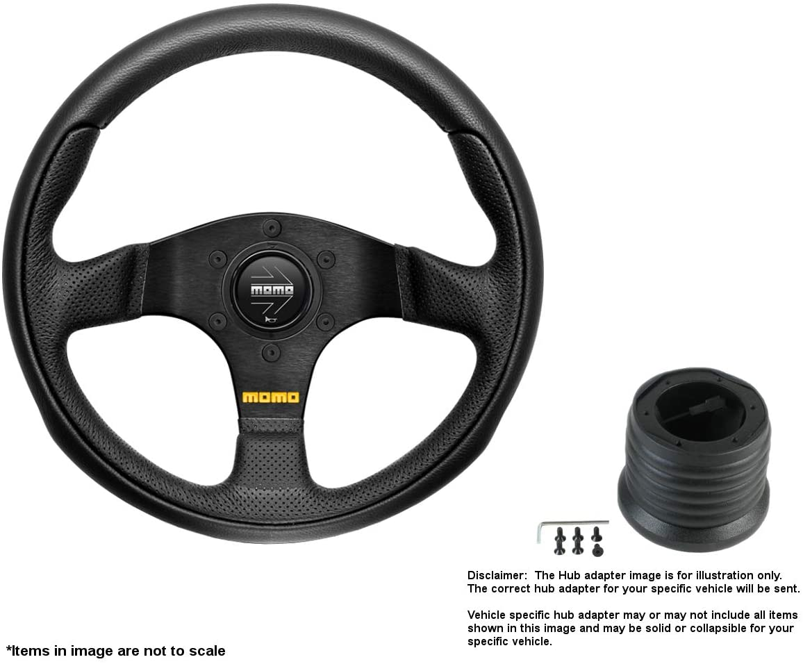 MOMO Team 300mm (11.81 Inches) Leather Steering Wheel w/Brushed Black Anodized Spokes and Hub Adapter for Toyota MR2 Part # TEA30BK0B + 7714