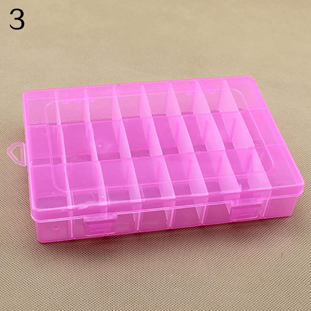 carduran Mulyocolor 24 Compartments Plastic Box Protable Jewelry Bracelet Case Bead Storage Container Craft Organizer