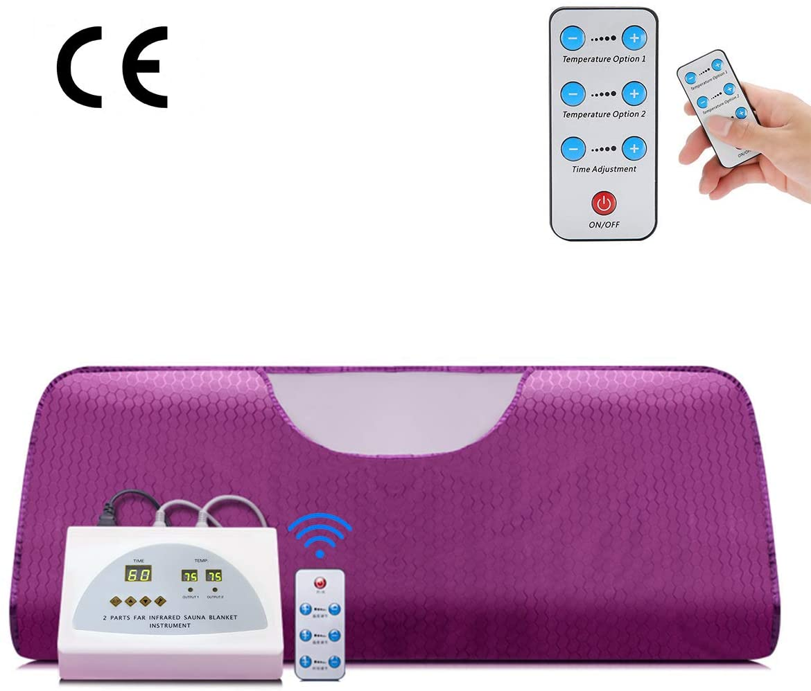 AINY Far Infrared Sauna Blanket with Remote Control, Electric Sauna Blanket Sliming Blanket Digital Heat with 2 Zone Controller Weight Loss Detox Therapy Machine,Purple