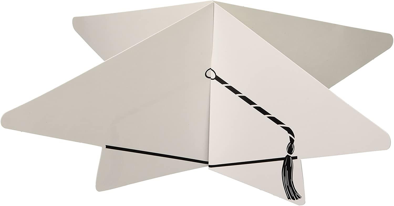 Beistle 3D Graduate Cap Centerpiece, 10-1/2-Inch, White