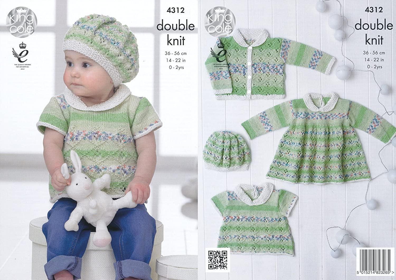 King Cole Double Knitting Pattern Lace Effect Top Dress Cardigan & Beret Set Baby Drifter DK (4312)