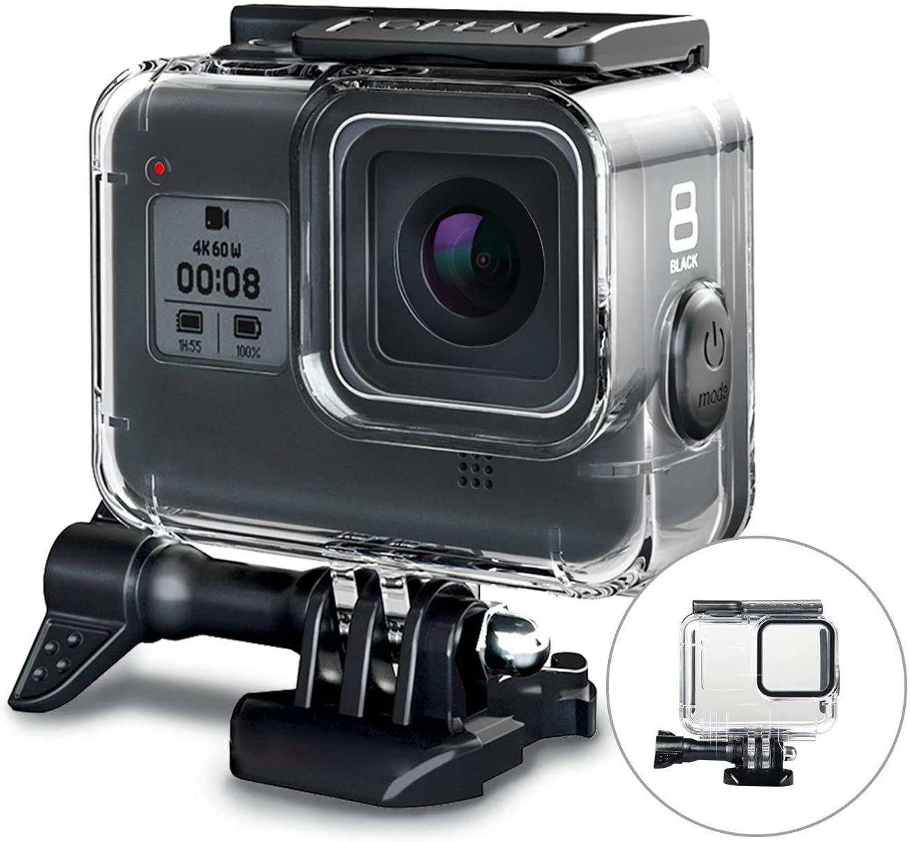 FINEST+ 60m Waterproof Housing Case for GoPro Hero 8 Black Diving Protective Housing Shell with Bracket Accessories for Go Pro Hero8 Action Came Rubber Material Pins Protect The Power Botton