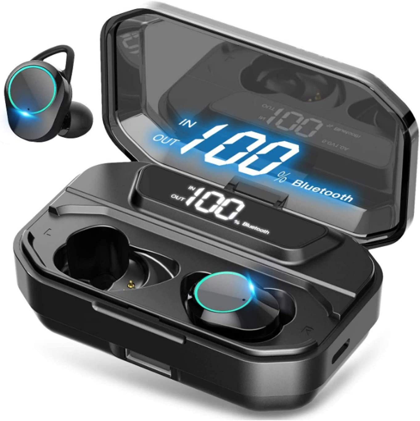 G02 Wireless Earbuds Bluetooth 5.0 in-Ear Headphones IPX6 Waterproof TWS Stereo Headphones with Built-in Microphone 3300 mAh Portable Charging Case