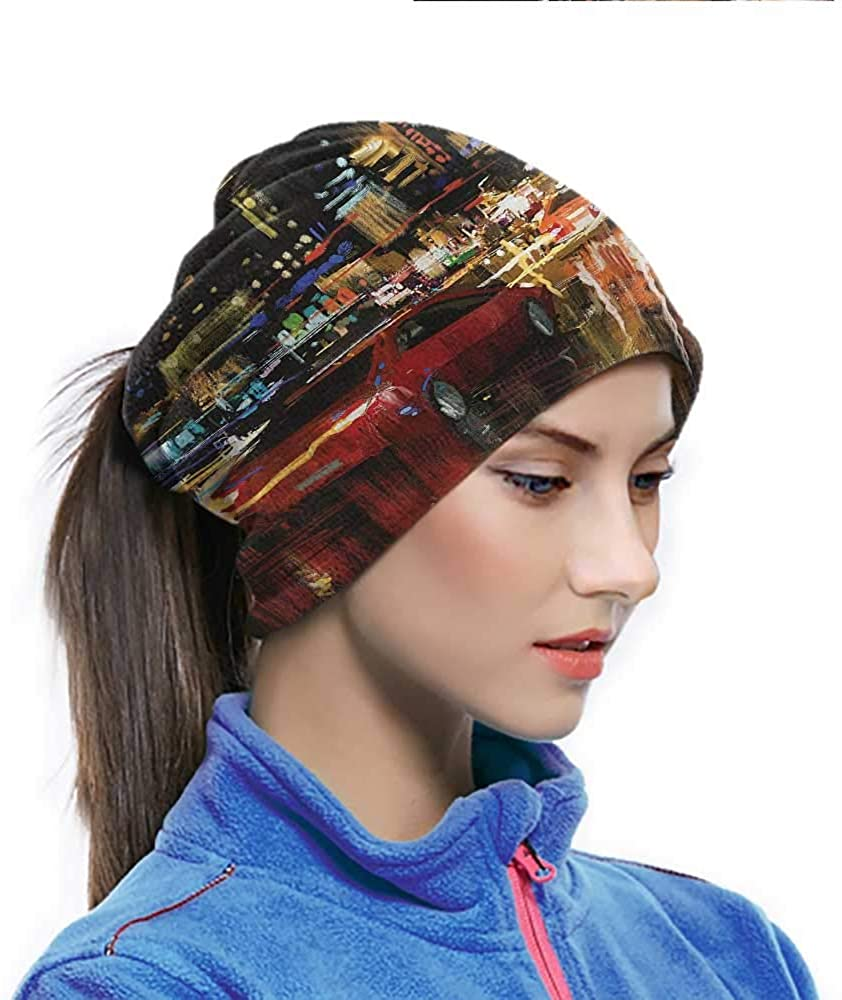 Cycling Scarf City, Urban Life Scene Hectic Night Headwrap Helmet Liner Multi-functional and Dependable 10 x 11.6 Inch