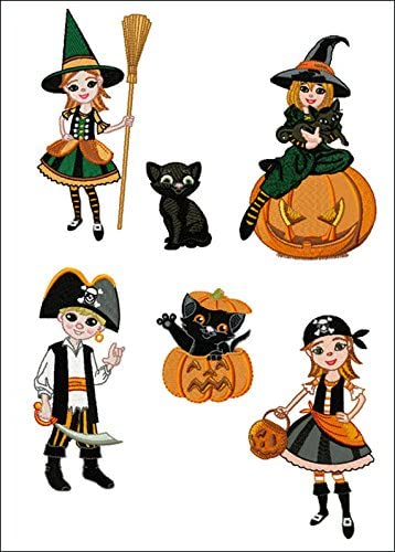 ABC Machine Embroidery Designs Set - Halloween Party - 6 Designs, 5
