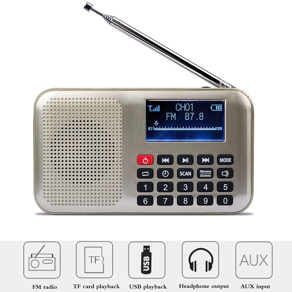FM Portable Pocket Radio, LCD Display FM Radio with LED Flashligt Support TF Card U Disk Aux Input, Headphone Output MP3 Music Player
