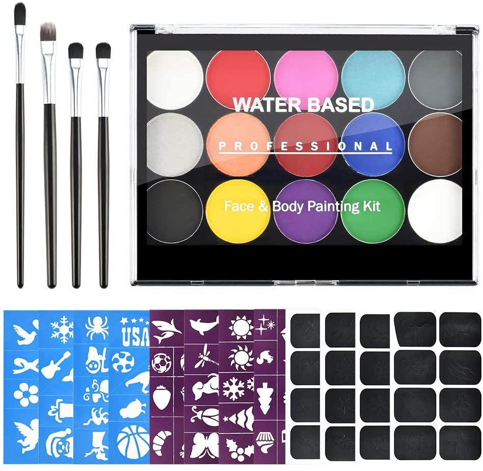 Ownest 15 Colors Body and Face Paint Kit, Non-Toxic & Hypoallergenic, Kids Professional Water Based Festival Party Makeup Set with 4 Brushes, 112 Stencils, Easy to Painting and Washing