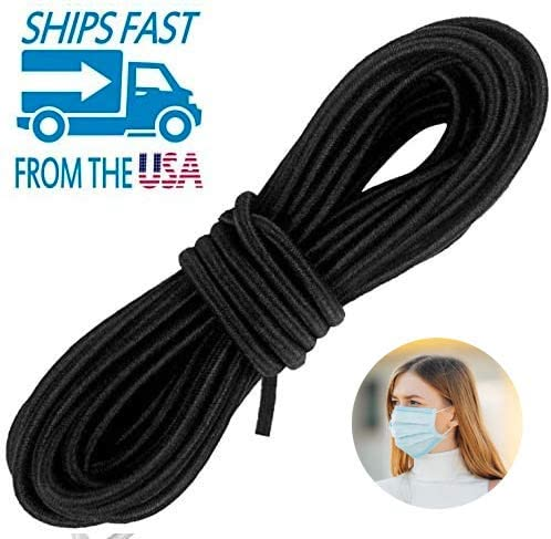 Adolfo Designs Round Elastic Band for Sewing - Heavy Stretch Bungee - Arts and Crafts, DIY Face Masks –Knit Braided Cord - Stretchy String for Earloop - 10 Yards (Black)