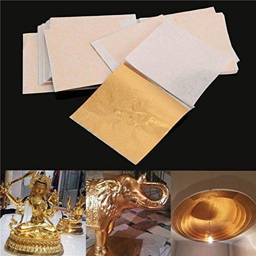 Pukido 100pcs 8x8.5cm Champagne Gold Foil Leaf Gilding Sheets Set Crafts Decor