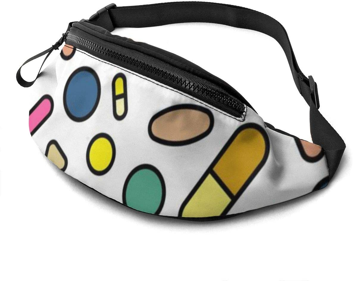 Fashion Pill Fanny Pack For Men Women Waist Pack Bag With Headphone Jack And Zipper Pockets Adjustable Straps