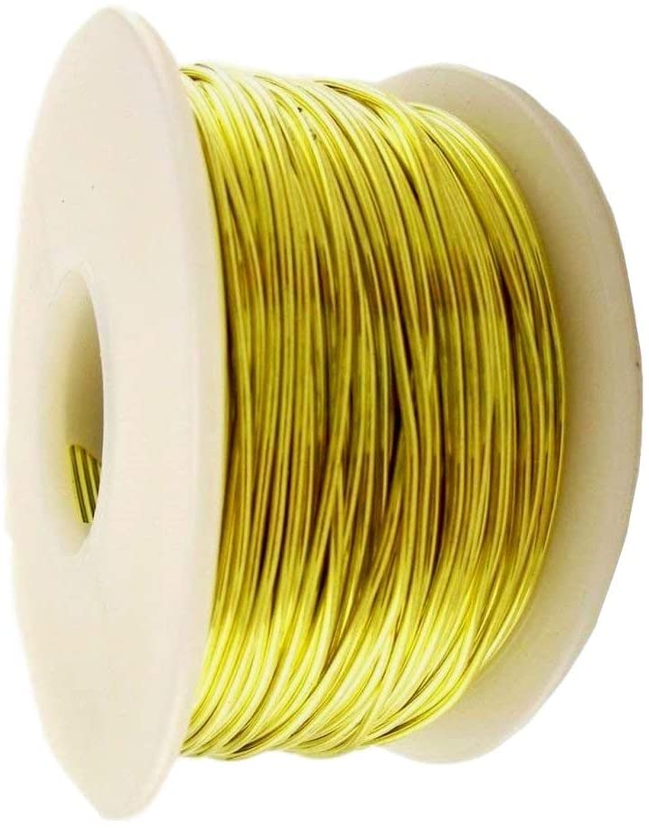 22 ga Brass Round Wire 1 lb = 500 Ft. Spool / Soft Yellow #260 Brass
