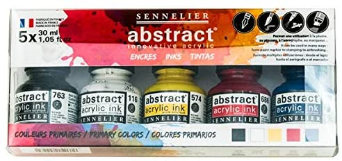 Sennelier Abstract Acrylic Ink Set, Includes 5-30ml Bottles of Ink, Primary Colors (10-134220-00)