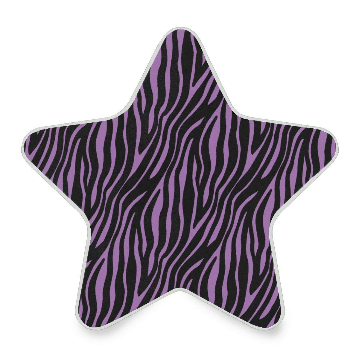 LED Night Light Purple Zebra Fur Skin Seamless Pattern Nightlight Decorative Star Pentagram Shaped Plug in for Kids Baby Girls Boys Adults Room