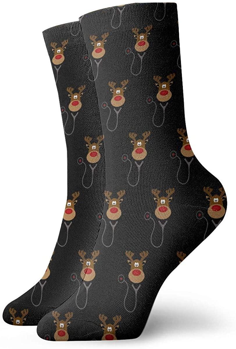 Reindeer Nursing Christmas Women's Casual Athletic Stockings Short Crew Socks