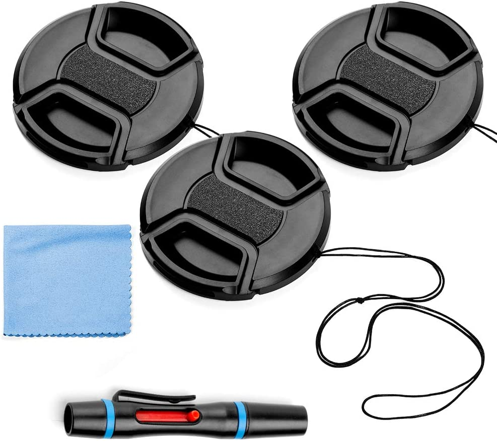 58mm Lens Cap Bundle, 3 Pack Universal Snap on Front Centre Pinch Lens Cover Set with Microfiber Lens Cleaning Cloth for Canon Nikon Sony Olympus DSLR Camera + Camera Lens Cleaning Pen
