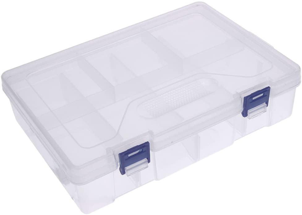 Awakingdemi Grid Storage Box,Double Layer 8 Grids Transparent Plastic Storage Box Hardware Accessories Parts Tool Box
