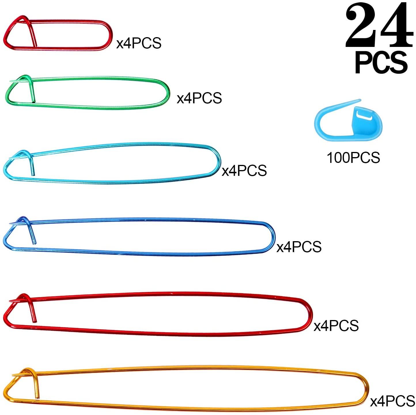 KEILEOHO 24 PCS Multi-Colored Knitting Stitch Holders, Stitch Holders with 100 PCS Colored Positioning Buckles, Aluminum Yarn Stitch Holders for Knitting Notions or Crochet, 6 Sizes