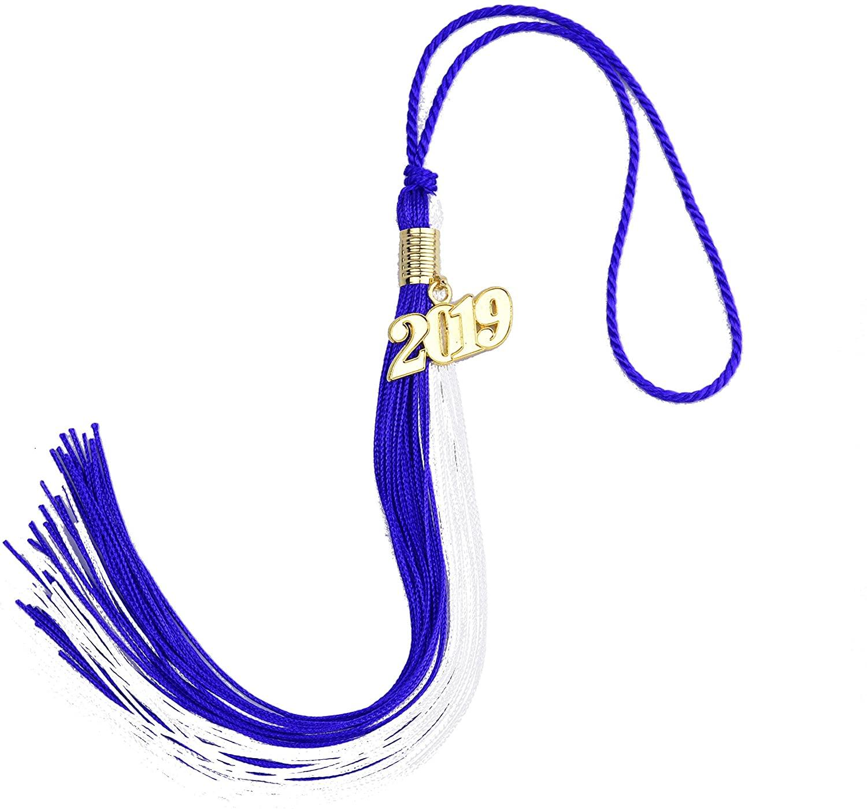 Aokbean 4pcs 15.7 inches Handmade Silk Academic Graduation Honor Tassel with Year Charm for Graduation Cap,Graduation Gift, Souvenir (Navy Blue&White, 2019)