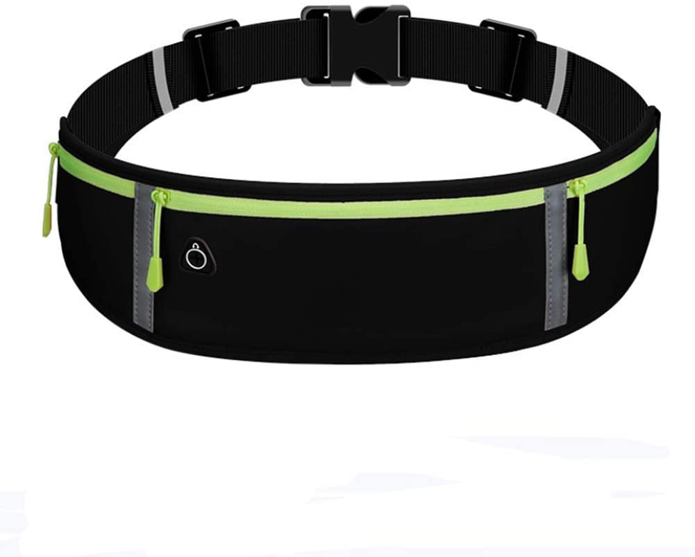 Running Belt Waist Pack Fitness Belt W Headphone Hole Soft Sweat-Proof Fabric and Adjustable Elastic Strap for Waist Curve and Convenient for Running Suitable Mobile Phones Up to 6 inches