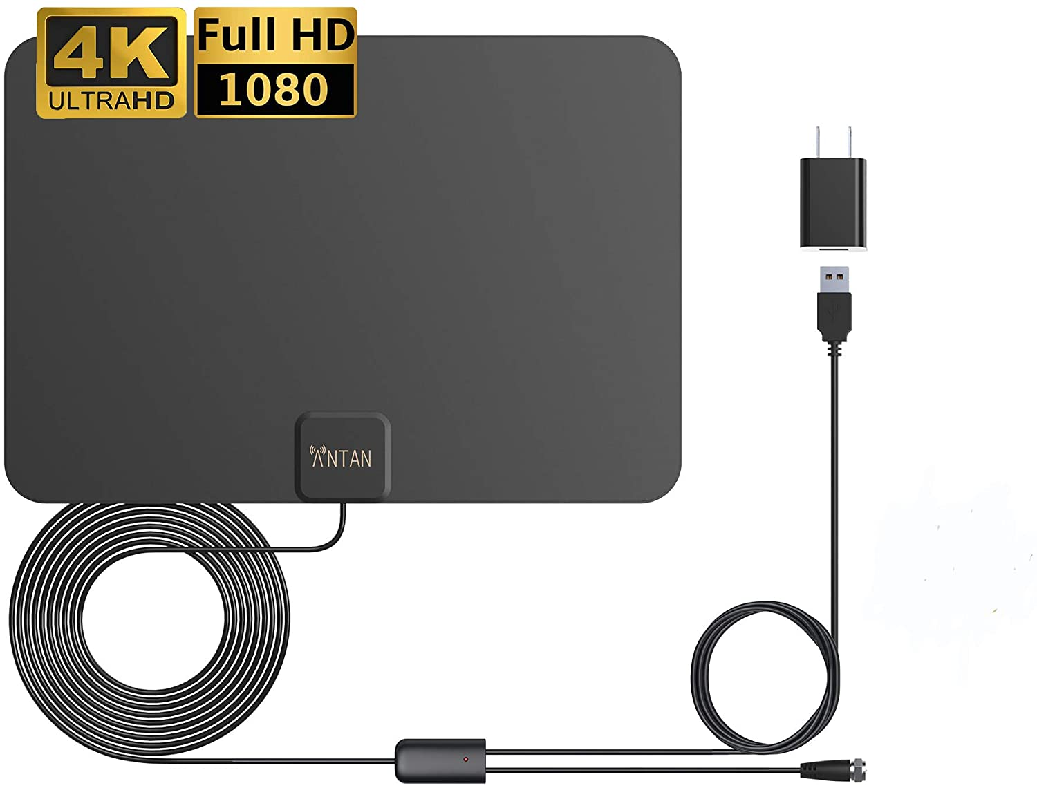 ANTAN Indoor Amplified HD TV Antenna Up to 45-65 Mile Range-Support 8K 4K 1080p VHF UHF Freeview Television Local Channels for All Indoor TVs with Longer 16.5ft Coax Cable