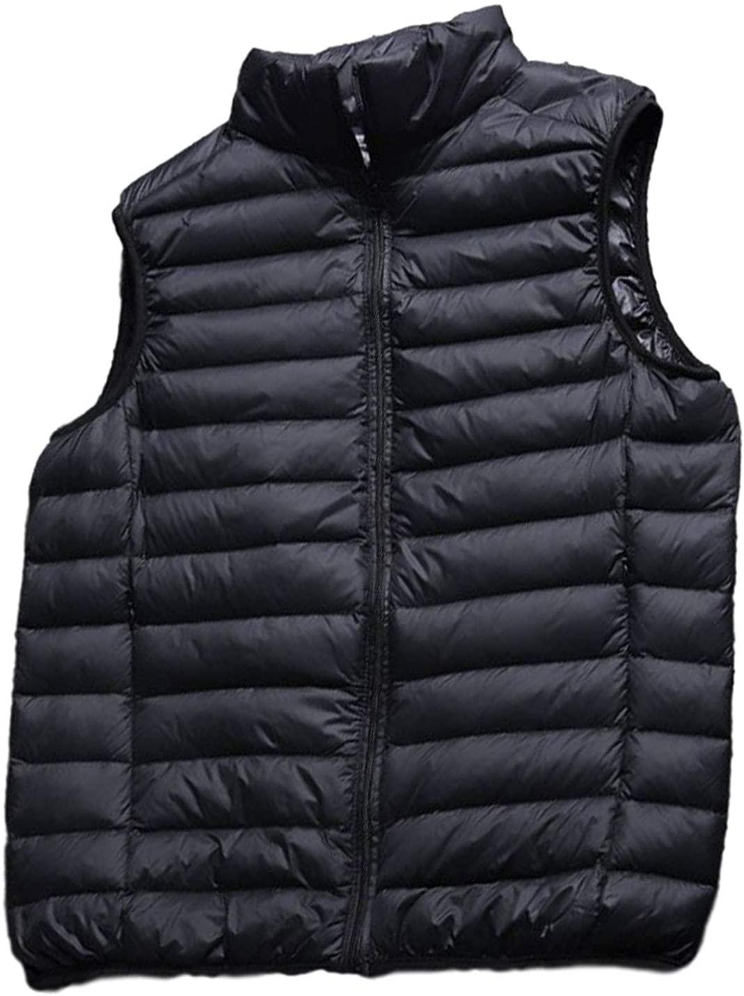 AMEBELLE Mens Lightweight Packable Water-Resistant Puffer Down Vest Waistcoat