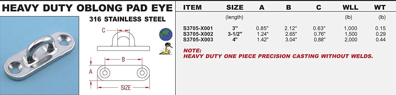316 Stainless Steel Oblong Pad Eye (HEAVY DUTY) 3-1/2
