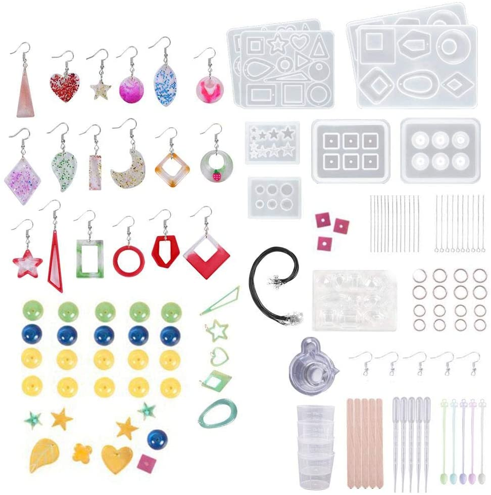 Auveach 289PCS DIY Resin Silicone Molds Earring Bracelet Necklace Pendant Beads Molds Kits Epoxy Casting Molds Sets for Jewelry Making Handmade Crafts