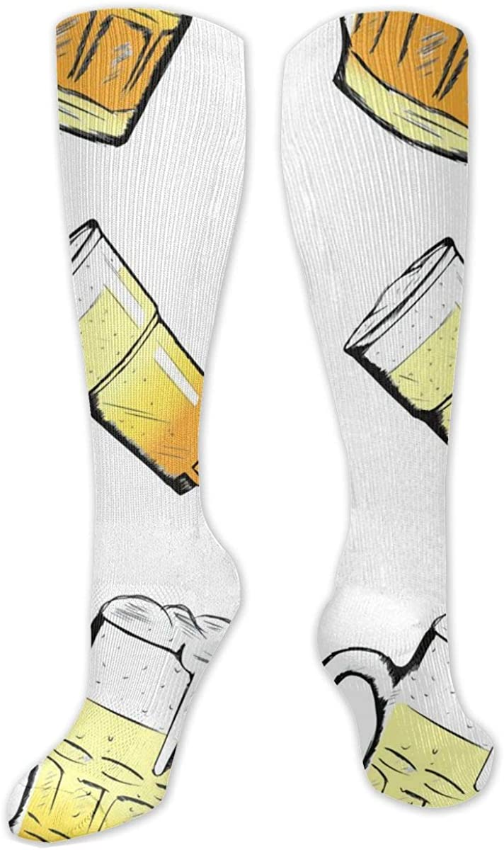 Knee High Socks For Men Women Cold Summer Beer Glass Mug Crew Hose Stockings