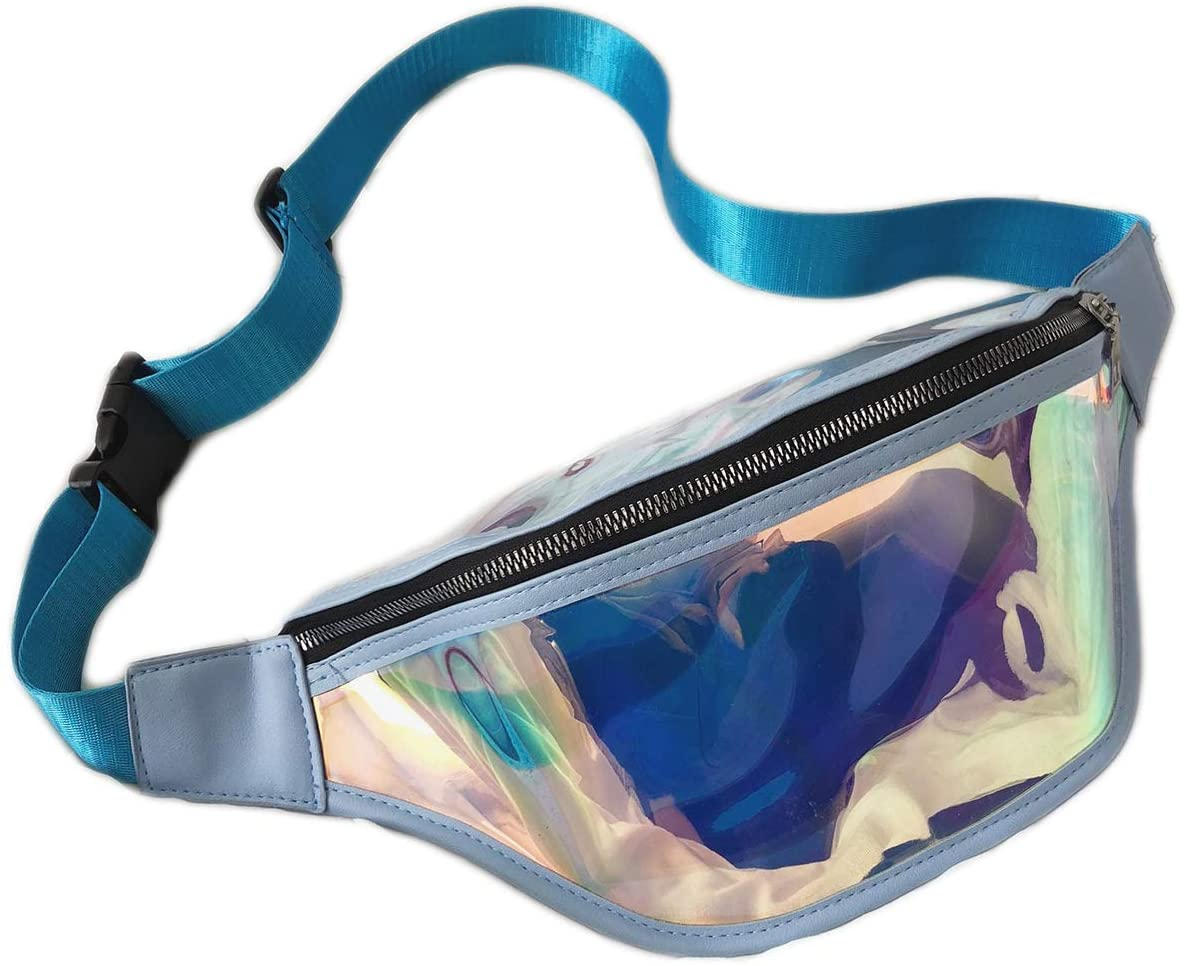 FROSSE Holographic Clear Neon Fanny Pack BLUE