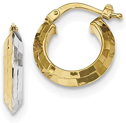 14k Gold & White Rhodium Polished and Textured Hoop Earrings