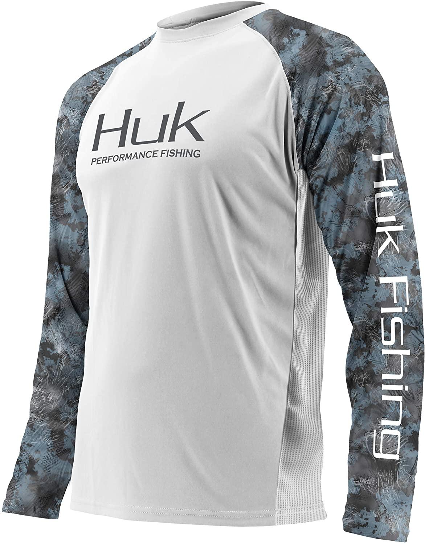 HUK Mens Double Header Vented Long Sleeve Shirt   Premium Fishing Shirt with +30 UPF Sun Protection