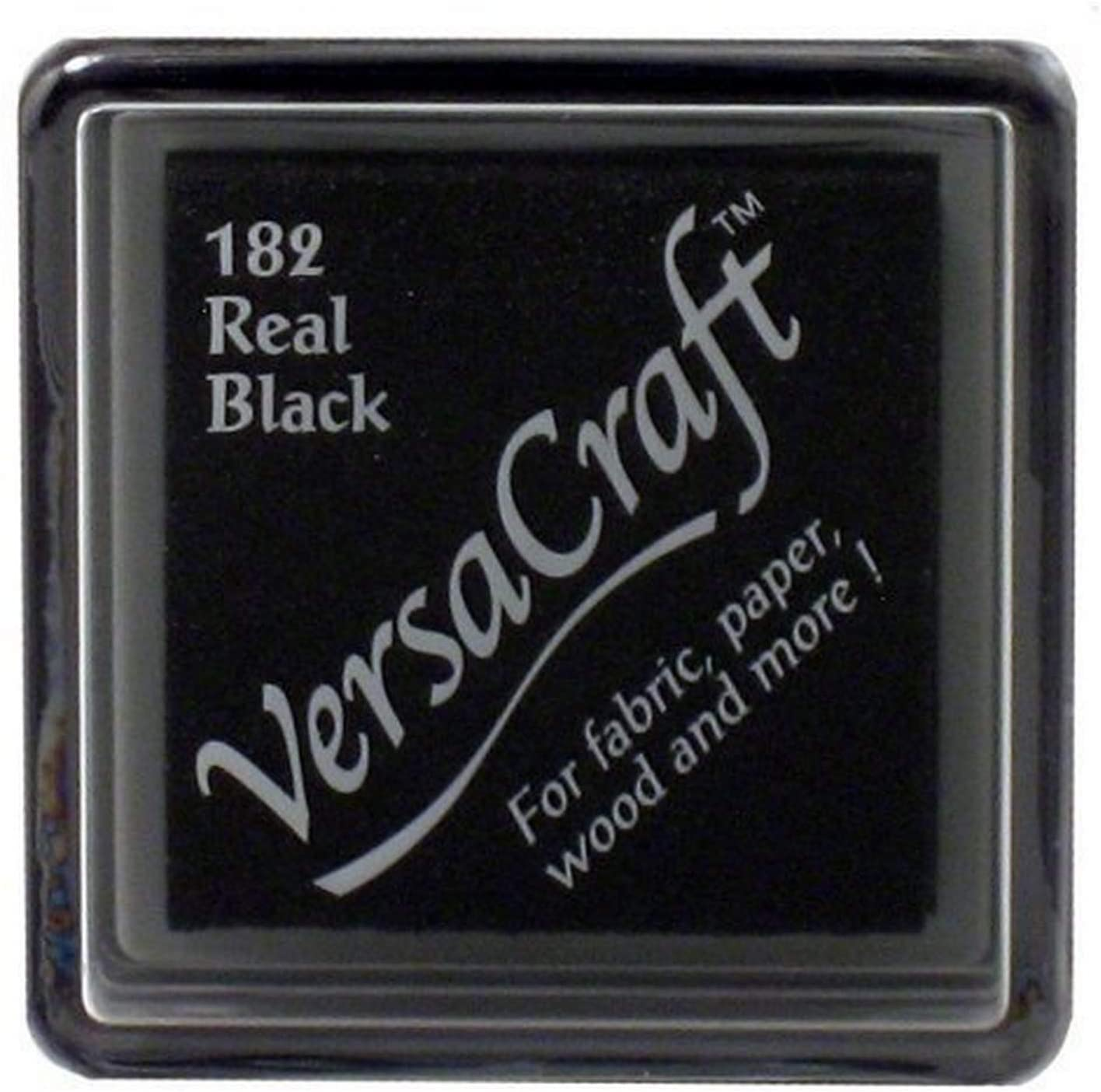 Tsukineko Small Size VersaCraft Fabric and Home Decor Crafting Pigment Inkpad, Real Black