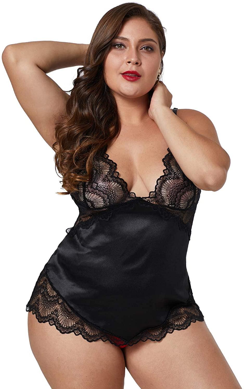 METERDE Womens Sexy V Neck Sleepwear Lace Night Slip Dress